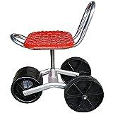 FLBTY Scooter da Giardino per Piantare, Carrello da Giardino Sedile da Lavoro Mobile con Ruote in Gomma, Scooter per Piantare Sedile da Giardino Rotante, Design Triciclo Sollevabile