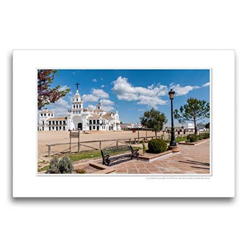 CALVENDO Lienzo Textil de 75 cm x 50 cm Horizontal, un Motivo del Calendario Emocional Momente: El Rocio - España, Famoso Lugar de la Cartera. Lienzo con impresión en Lienzo Glaube Glaube