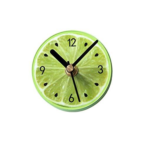 WINOMO Magnetische Kühlschrank Uhr Kühlschrank Magneten Aufkleber Runde Obst Muster Wanduhr Nachricht Aufkleber (grüne Zitrone)