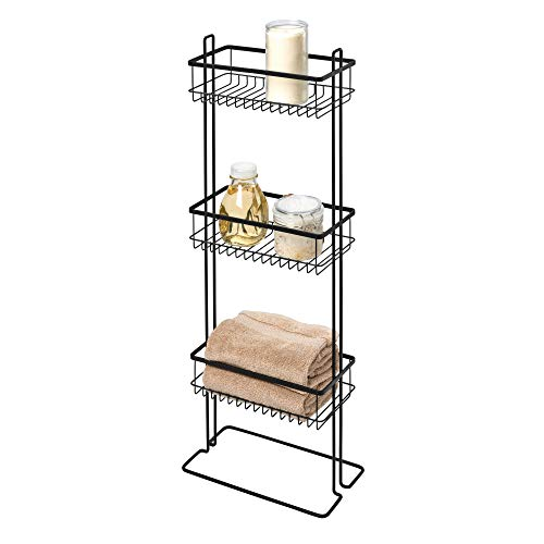 iDesign Everett Metal Standing Shower Caddy, 3-Tier Bath Shelf Baskets for Towels, Soap, Shampoo, Lotion, Accessories, 12.36