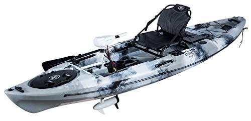 BKC PK12 Angler 12-Foot Sit On Top Solo Fishing Kayak w Trolling Motor (GreyCamo)