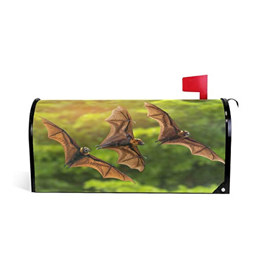 ZZKKO Flying Bat Magnetic Mailbox Cover Wrap Post Letter Box Cover for Outside Garden Home Decor Standard Size 20.8 x 18 Inch