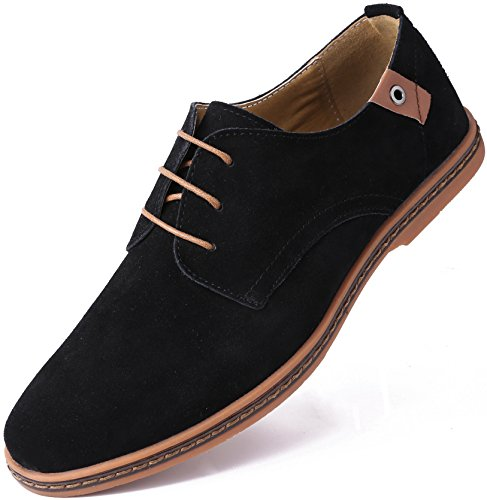 Marino Suede Oxford Dress Shoes for Men - Business Casual Shoes (Black, 10.5)