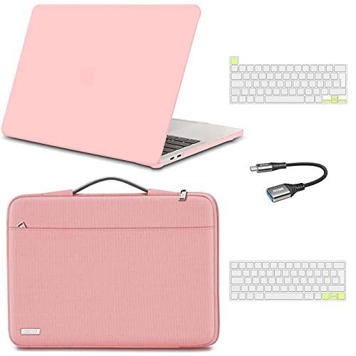 TECOOL Funda para 2020 2019 MacBook Pro 13 13.3 Pulgadas A2338 M1 / A2289 / A2251,Carcasa de Plástico & Funda Portátil & Cubierta del Teclado & Adaptador USB para Mac Pro con Touch ID - Rosa