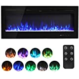 Electric Fireplace Wall Mounted Electrical Fire Suite with 9 Flame Colour Effect & Remote Control, 220V-240V/50Hz, 1800W