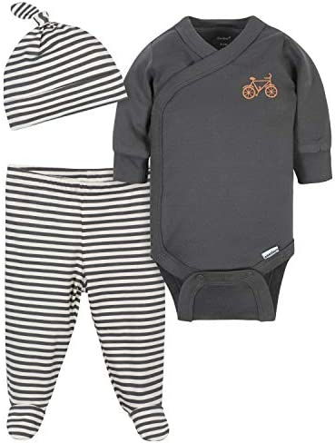 Grow by Gerber Baby Boys Organic 3 Piece Onesies Bodysuit Footed Pant and Cap Set Grey Ivory product image