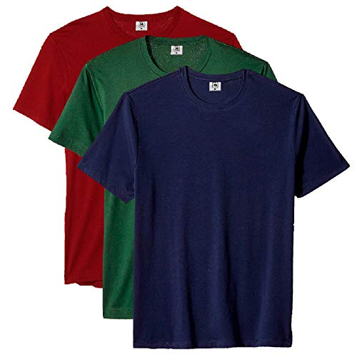 Kit com 3 Camiseta Masculina Básica Algodão Premium (Azul Verde Vinho, GG)