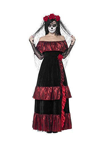 Smiffys Day of the Dead Bride Costume Disfraz de novia del día de los muertos, color negro, XXL-UK Size 24-26 (43739X2)