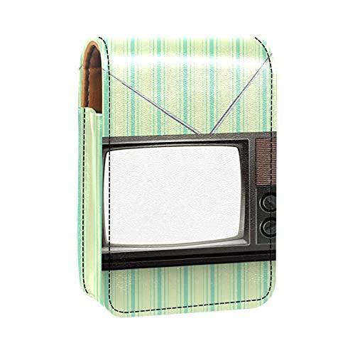 Estuche de Cuero para lápices labiales Estuche para lápices labiales con espejoBlank Retro TV Vintage Mini Almacenamiento de Maquillaje