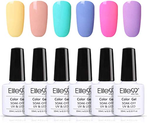 Elite99 Smalto Semipermanente per Unghie 6pzs Set di Smalti Gel gel Semipermanente Unghie Kit da UV LED Smalto per unghie Smalti Gel Polish per Unghie Soak Off Manicure,10ML ZH011
