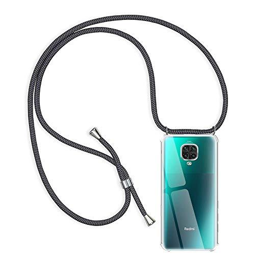 Funda con Cuerda para Xiaomi Redmi Note 9S/9 Pro/9 Pro MAX, Transparente Silicona Carcasa para Redmi Note 9S, Rosyheart Suave TPU Gel Case Colgante Ajustable Anti Golpes Protector Case, Gris O