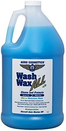 Aero Cosmetics Wet Or Waterless Car Wash Wax Aircraft Quality Wash Wax for Your Car Rv & Boat. 1 Gallon Blue