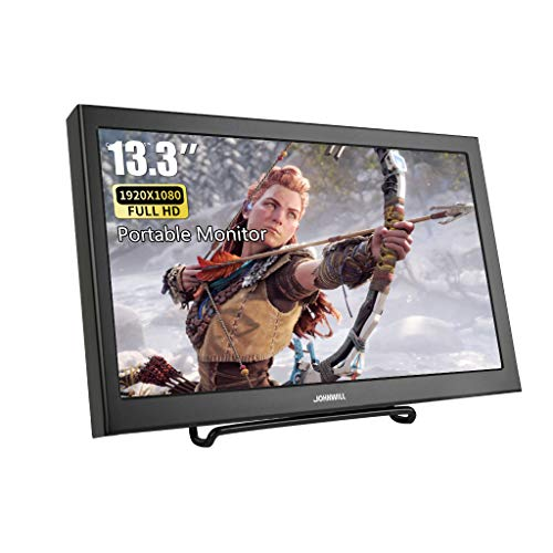 13,3 Zoll VGA tragbarer Bildschirm Ultra HD 1920 x 1080 IPS LCD/LED tragbarer Monitor HDMI VGA Port, Lautsprecher eingebaut, Metallgehäuse schwarz,JOHNWILL
