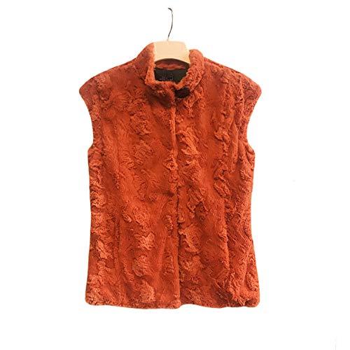 Lisa International Women's Multi Color Faux Fur Vest with Belt (Orange, XL)
