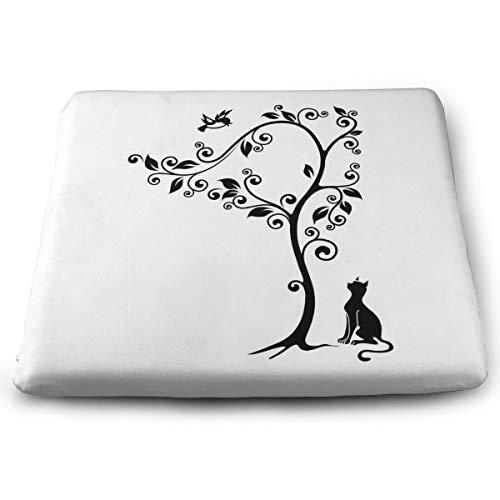 Memory Foam Pad zitkussen. Autostoel Kussens om hoogte te verhogen - bureaustoel Comfort Kussen - Silhouette Leuke Kitty Onder Boom Vogels Op Draaibare Takken