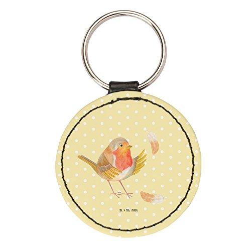 Mr. & Mrs. Panda Schlüsselband, Anhänger, Rund Schlüsselanhänger Rotkehlchen mit Federn - Farbe Gelb Pastell