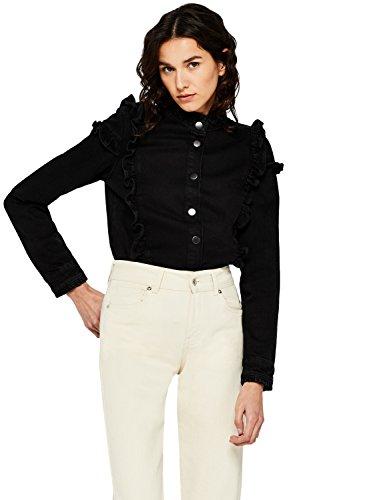 Amazon-Marke: find. Damen Jacke Ruffle Detail Denim Jacket, Schwarz (Washed Black), 38, Label: M