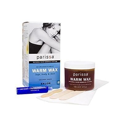 Parissa Warm Wax (Microwaveable), Hair Removal Waxing Kit Professional Strength for Body Waxing, 4 fl oz (120ml) Wax, 3 Spatulas, 20 Strips & 8ml Azulene Oil