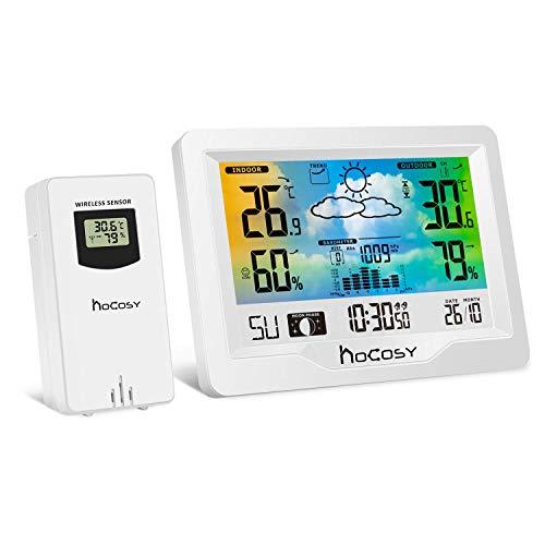 Wetterstation Funk mit Außensensor Hocosy Funkwetterstation mit Farbdisplay Digital Thermometer Feuchtigkeit Barometer Wettervorhersage Mondphasen und Uhrzeit Anzeige für Zuhause im Büro Hausgarten
