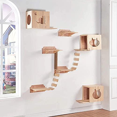 SMYONGPING Pet Play House - Pet Furniture Kitten Activity Tower Modern Furniture Activity Center Suspension Bridge Ladder Multi-Level Cat Tree Pet Supplies cat Climbing Frame cat Bed Kennel mat