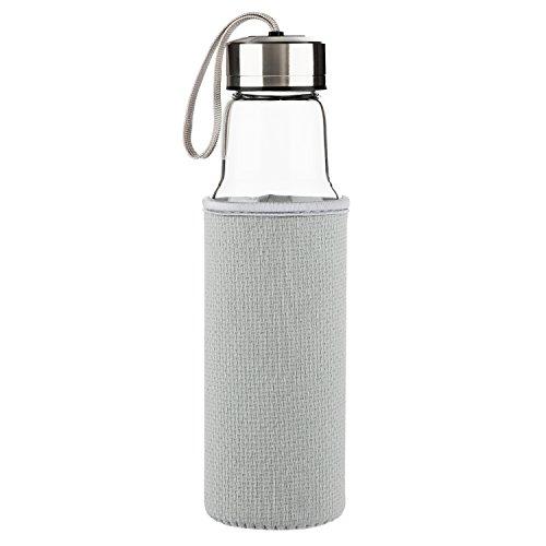 SHBRIFA Glas Wasserflasche500ml, Borosilikat Glas Trinkflasche mit Neopren-Hülle und auslaufsicherem Edelstahldeckel, BPA-frei