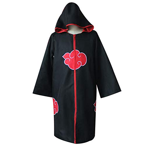 lunanana Naruto Hoodie, Ninja Robe Akatsuki Mantel Halloween Cosplay Kostüm Uniform(S Black)