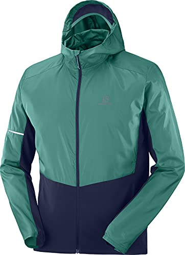 Salomon Agile Men's Breathable Jacket With Hoodie, Turquoise (Pacific), L