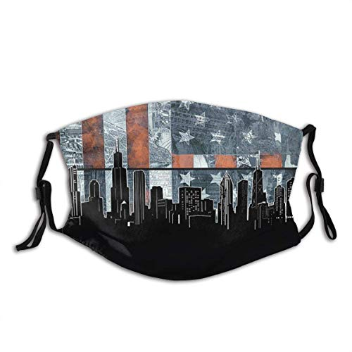 Chicago Skyline Flag 3 Dust Unisex Reusable and Dustproof Face Mask with Adjustable Elastic Strap and Fliters