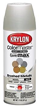 Krylon K05125507 ColorMaster Paint + Primer Brushed Metallic Satin Nickel 11 oz.