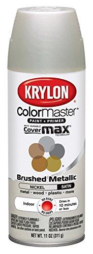 Krylon K05125507 ColorMaster Paint + Primer, Brushed Metallic, Satin, Nickel, 11 oz.