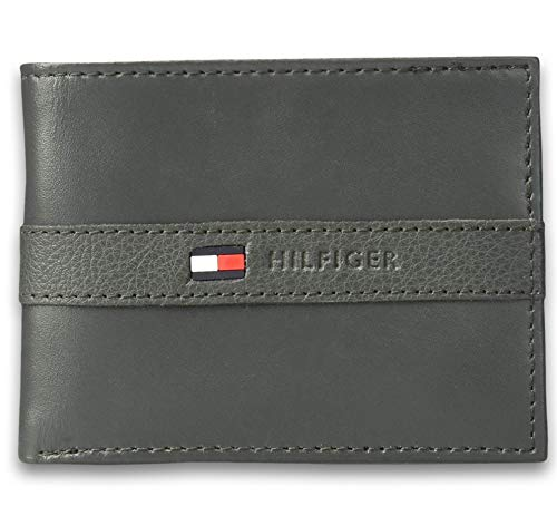 Tommy Hilfiger Men's Ranger Leather Passcase Wallet, Gris