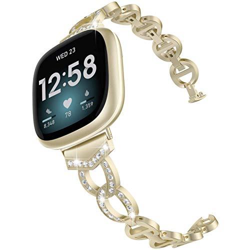 Glebo Pulsera de metal compatible con Fitbit Versa 3 / Fitbit Sense para mujer, con diamantes de imitación de metal para reloj inteligente Fitbit Versa 3/Sense Watch, color dorado champán