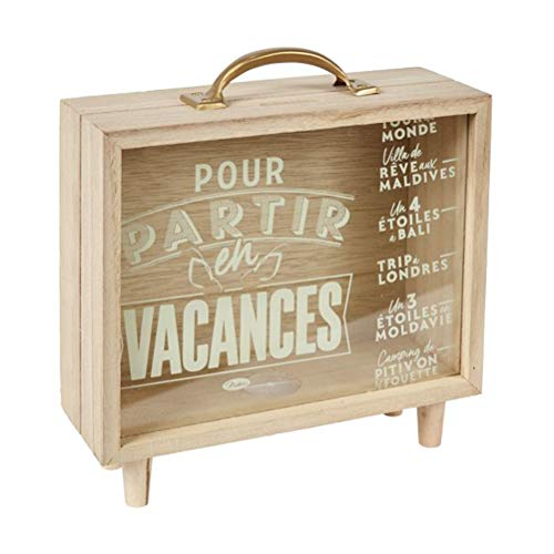 Rétro Holz Spardose / Sparkästchen 'Vacances', für die Reisekasse, Maße; 21,5 x 20,5 x 7,5 cm, mit Sichtfenster und Text-Motiv, Sparbüchse zum Hinstellen, ideal für Geldgeschenk