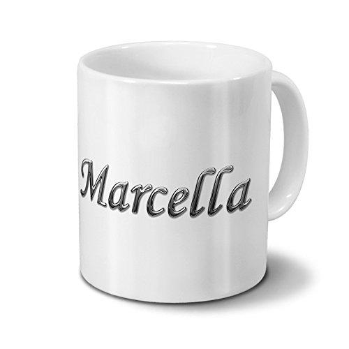 printplanet Tasse mit Namen Marcella - Motiv Chrom-Schriftzug - Namenstasse, Kaffeebecher, Mug, Becher, Kaffeetasse - Farbe Weiß