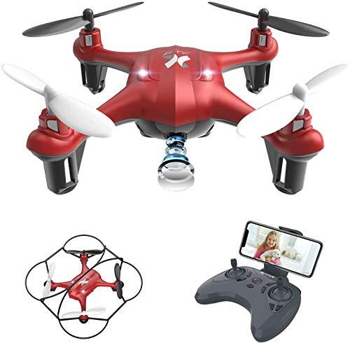 Drohne mit Kamera HD WiFi FPV Live Übertragung, RC Quadrocopter, Automatische Höhenhaltung, App Steuerung, Headless Modus 3D Flip Helikopter Ferngesteuert für Anfänger und Kinder Rot AT-96