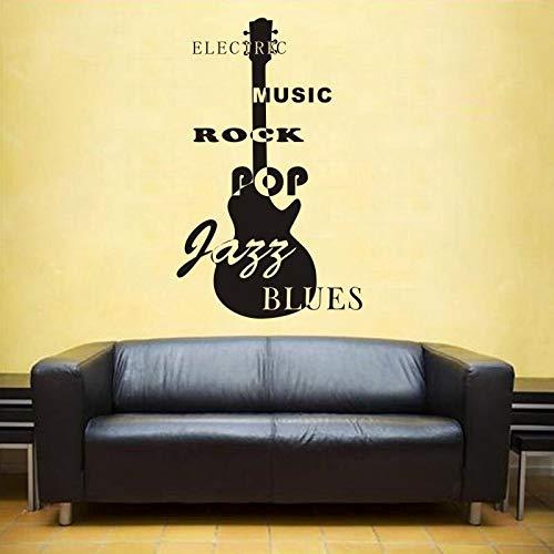 ASFGA Star Rock Silhouette Wandaufkleber Vinyl Aufkleber Gitarre Musikalische Applikation Familienmusik Teen Hobby Schlafzimmer Wohnzimmer Dekoration Auto Aufkleber Bar Club 100x158cm