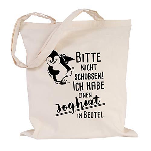 JUNIWORDS Jutebeutel - Wähle eine Farbe -Bitte nicht schubsen! (Pinguin) Ich habe einen Joghurt im Beutel (Beutel: Natur, Text: Schwarz)