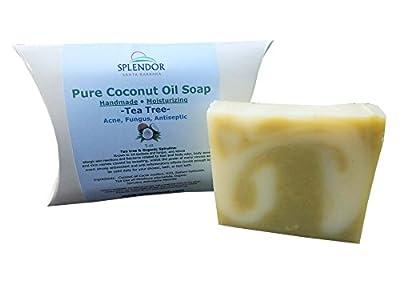 Tea Tree Pure Coconut Oil Soap with ORGANIC SPIRULINA. Handmade, Vegan, All Natural, Moisturizing, With AAA+ Therapeutic-Grade Australian Essential Oil