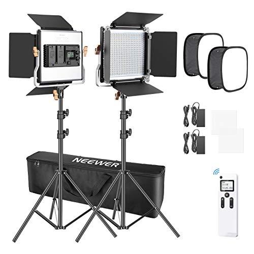 Neewer 2er Pack fortgeschrittene 2.4G 480 LED Videolicht Beleuchtungsset mit Tasche dimmbare zweifarbige LED-Panel mit 2,4G Funkfernbedienung, 660 LED...