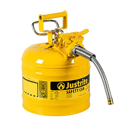 Justrite 7220220 AccuFlow 2 Gallon, .3 Size, 9.50  OD x 13.25  H Galvanized Steel Type II Yellow Safety Can With 5 8  Flexible Spout