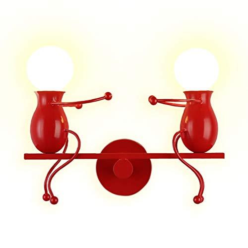 YOXANG 40 Watt Moderne Kreativ Design Wandlampe LED Dekorativ Metall Eisen Paar Mini Karikatur Puppe Nachttischlampe Einstellbar Minimalismus Wandbeleuchtung 2×E27 (Rot)