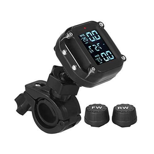 KKmoon Sistema di Monitoraggio della Pressione dei Pneumatici per Moto Impermeabile 7 Modalità di Allarme TPMS Wireless Sveglia Automatica e Sonno Porta di Ricarica Magnetica con 2 Sensori Esterni