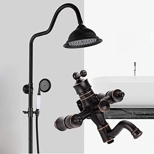 BXU-BG Europeo retro negro ascensor hogar latón grifo de la ducha y fría conjunto 20 cm ronda superior spray sistema de ducha 3 modos delicado