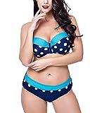 Mujer Ropa de baño Punto Bikini Set Tallas Grandes Bañadores Dos Piezas Lago Azul 48
