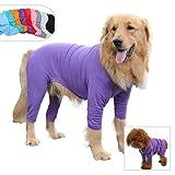 Lovelonglong Four Feet Dog Lightweight Pajamas, Pure Cotton Dog Jumpsuits 4 Legs Dog Onesies T-Shirt Stylish PJS Puppy Costume for Large Medium Small Dogs Purple XXXL