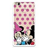 Funda para Huawei P9 Lite Oficial de Clásicos Disney Mickey y Minnie Lunares Rosas para Proteger tu móvil. Carcasa para Huawei con Licencia Oficial de Disney.