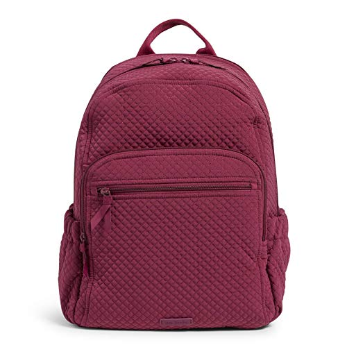 Vera Bradley Women's Microfiber Campus Backpack Bookbag, Raspberry Radiance, One Size