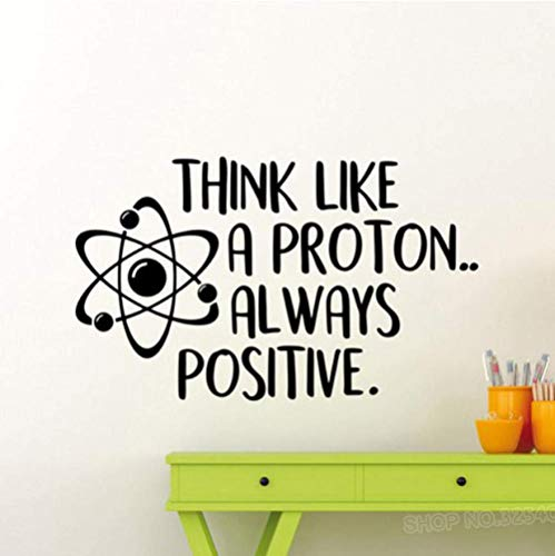 Think Like A Proton Always Positive Wall Decal Science Poster Inspirational Quote School Education Vinyl Sticker Art Decor42X70Cm