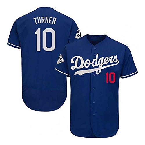 GMRZ MLB T-Shirt für Herren, Baseball Trikot mit Los Angeles Dodgers # 10 Turner Logo Design Major League Baseball Team Sportswear Fans Jersey Besticktes Shirt Kurzarm Unisex D XXXL