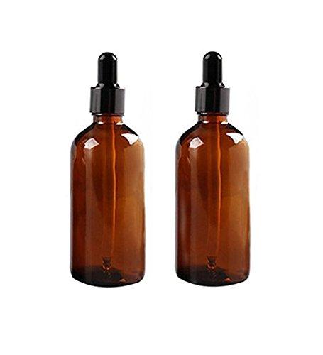 2 botellas de cristal de 100 ml con cuentagotas de vidrio ámbar vacío, botella de vidrio...